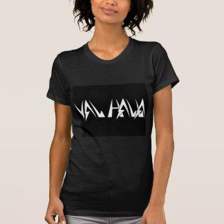 Val Halla FONT Logo White on black T-shirt