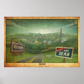 Valbrook Town Landscape Vintage Style Poster