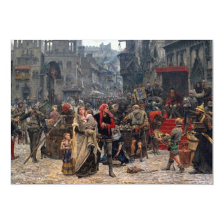 Valdemar Atterdag holding Visby to ransom, 1361 13 Cm X 18 Cm Invitation Card
