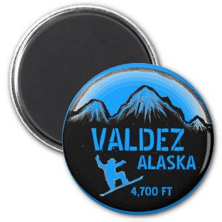 Valdez Alaska blue snowboard art magnet