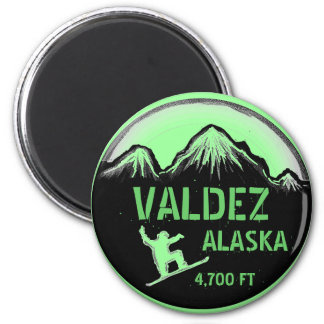 Valdez Alaska green snowboard art magnet