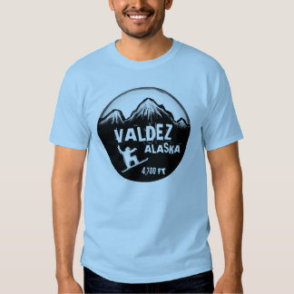 Valdez Alaska guys blue snowboard art tee