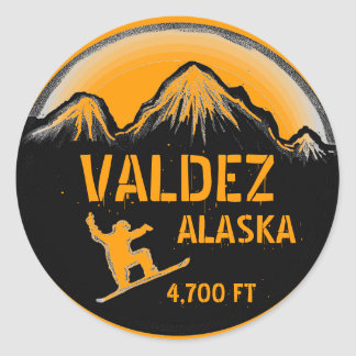 Valdez Alaska orange snowboard art stickers