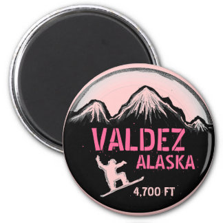 Valdez Alaska pink snowboard art magnet