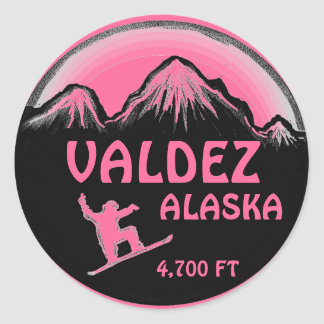 Valdez Alaska pink snowboard art stickers