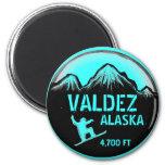 Valdez Alaska teal snowboard art magnet