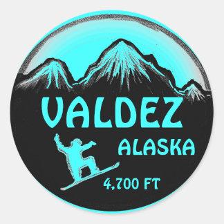 Valdez Alaska teal snowboard art stickers