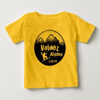 Valdez Alaska yellow baby snowboard art tee