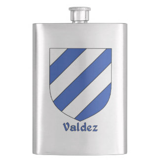 Valdez Heraldic Shield Hip Flasks