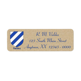 Valdez Heraldic Shield Return Address Label