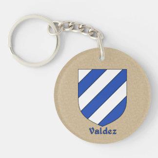 Valdez Historical Shield and Spanish Flag Double-Sided Round Acrylic Key Ring