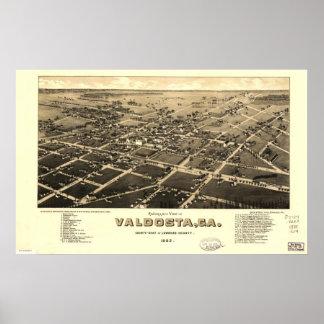 Valdosta Georgia 1885 Antique Panoramic Map Print