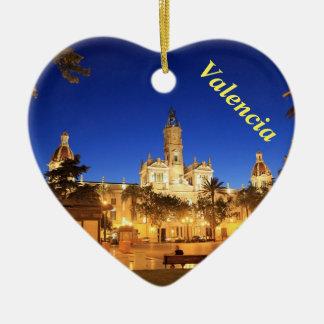 Valencia night view heart ornament