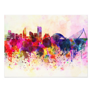 Valencia skyline in watercolor background photo print