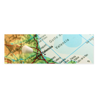 Valencia, Spain Pin Map Business Cards