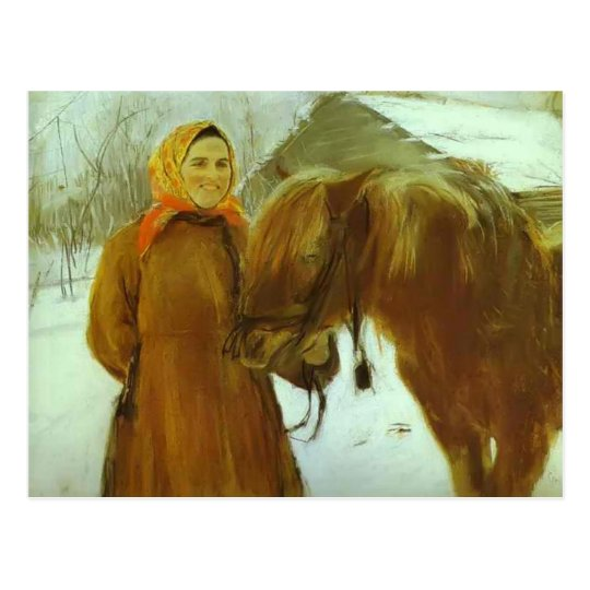 Valentin Serov- Peasant Woman with a Horse Postcard