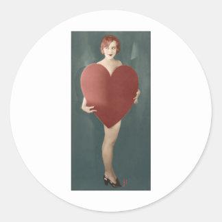 Valentine 1920s Girl Round Sticker