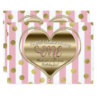 Valentine 1st Birthday ONE Gold Heart Pink Stripes Card