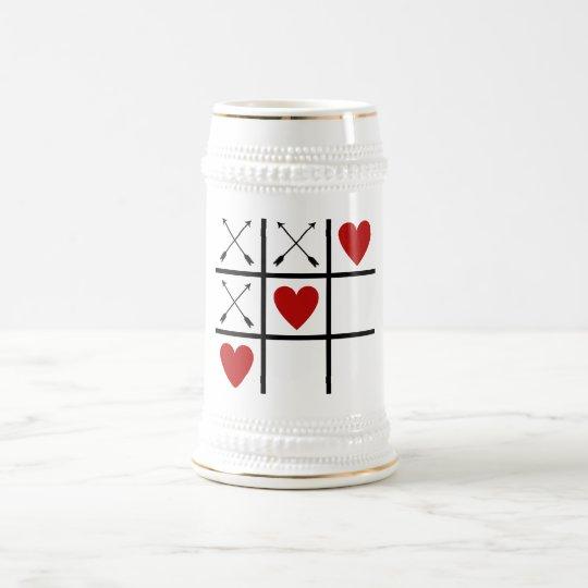 Valentine Arrows 'n Hearts Tic-Tac-Toe Beer Stein