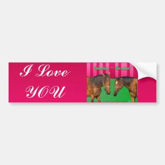 Valentine Be Mine I Love You Two Horses Bumper Sticker