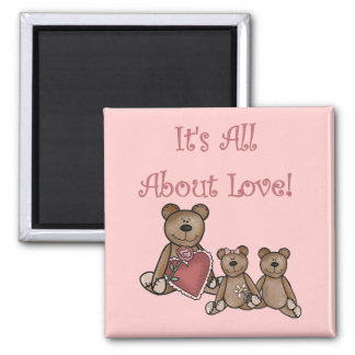Valentine Bears All About Love Tshirts and Gifts Fridge Magnets