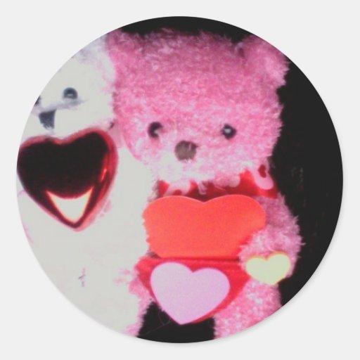valentine bears Photo 9732 Round Stickers
