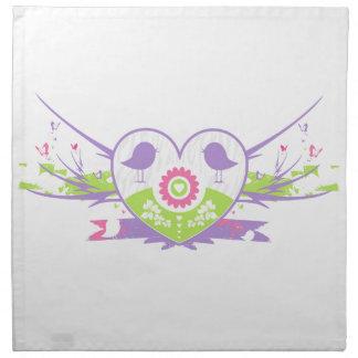 Valentine Bird Flower Heart Napkin