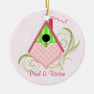 Valentine Birdhouse Ornament with Background
