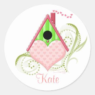 Valentine Birdhouse Round Stickers