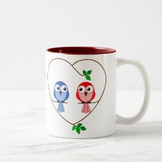 Valentine Birds Two-Tone Coffee Mug