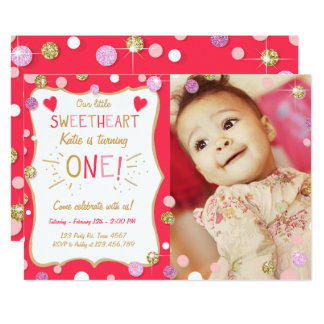 Valentine Birthday Invitation Little Sweetheart