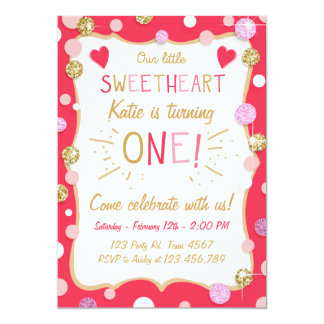 Valentine Birthday Invitation Little Sweetheart