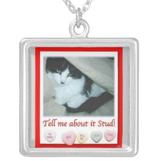 Valentine Black and White Cat Square Pendant Necklace
