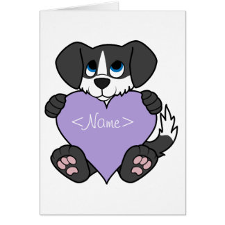 Valentine Black Dog - Blaze & Light Purple Heart Greeting Card