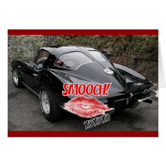 Valentine Black Split Window Corvette Classic Card