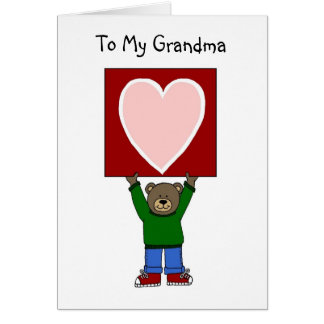 valentine boy bear holding card for grandma