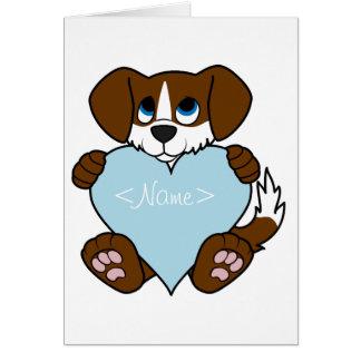 Valentine Brown Dog with Blaze & Light Blue Heart Greeting Card