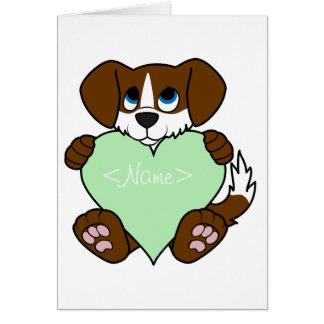 Valentine Brown Dog with Blaze & Light Green Heart Greeting Card