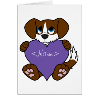 Valentine Brown Dog with Blaze & Purple Heart Greeting Card