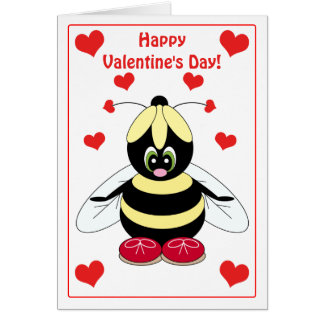 Valentine Bumblebee with Hearts Card