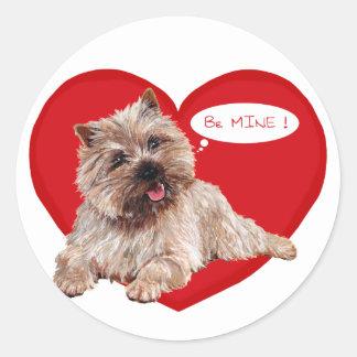 Valentine Cairn Terrier says Be Mine! Round Sticker