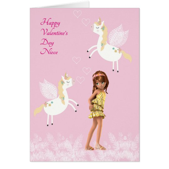 Valentine Card for Niece with Unicorns