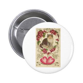 Valentine Cat Pinback Button
