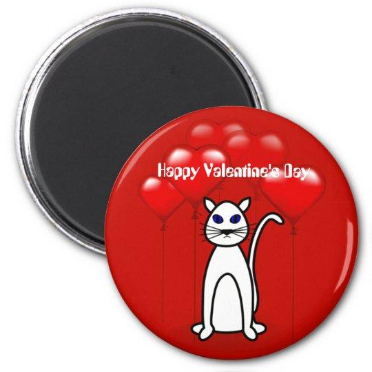 Valentine Cat Heart Balloons Custom Magnet