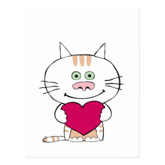 Valentine cat postcard