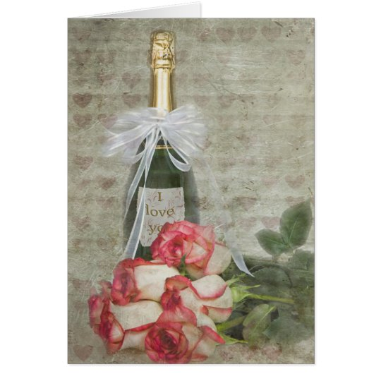 Valentine champagne bottle with roses card