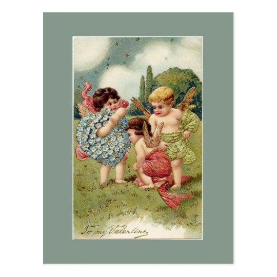 Valentine Cherubs Green Postcard
