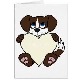 Valentine Chocolate Dog with Blaze & Cream Heart Greeting Card