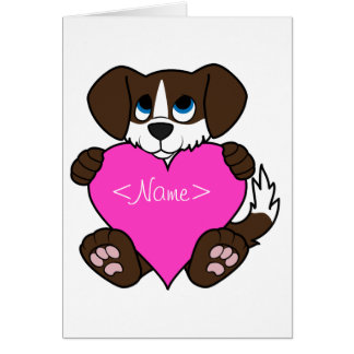 Valentine Chocolate Dog with Blaze & Pink Heart Greeting Card