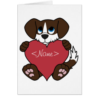 Valentine Chocolate Dog with Blaze & Red Heart Greeting Card